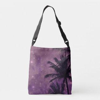Purple Sky Palm Cross body Tote Bag