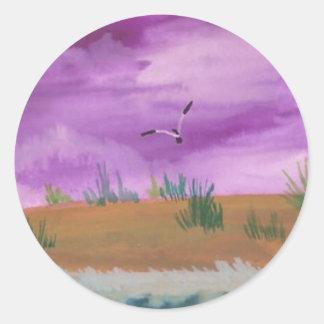 Purple Sky Seascape Classic Round Sticker