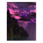Purple Sky with birds 3d Post Card