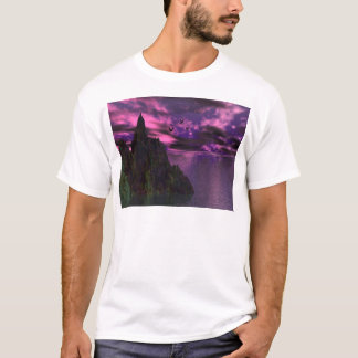 Purple Sky with birds 3d T-Shirt
