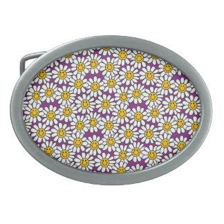Purple Smiley Daisy Flower Pattern Belt Buckles
