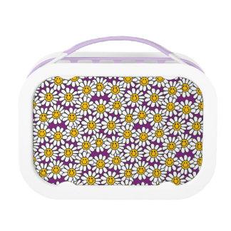Purple Smiley Daisy Flower Pattern Lunch Box