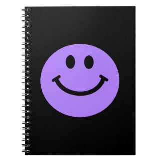 purple smiley face notebook