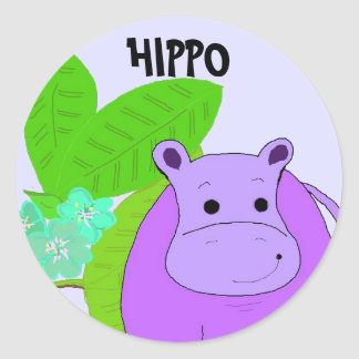 Purple Smiling Hippo Classic Round Sticker