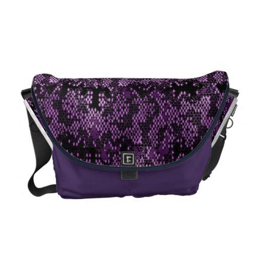 Purple Snakeskin Look Designer Messenger Bag