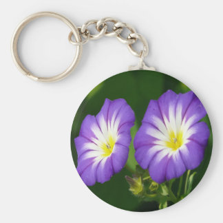 Purple Snap Morning Glory Basic Round Button Key Ring