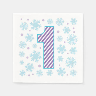 Purple Snowflake 1st Birthday Disposable Napkins