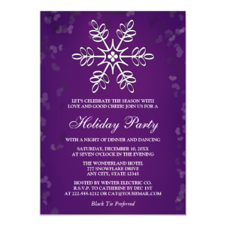 PURPLE SNOWFLAKE HOLIDAY PARTY 13 CM X 18 CM INVITATION CARD