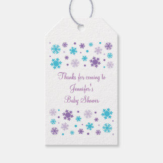 Purple Snowflake Party Favor Tags