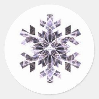 Purple Snowflake Round Stickers