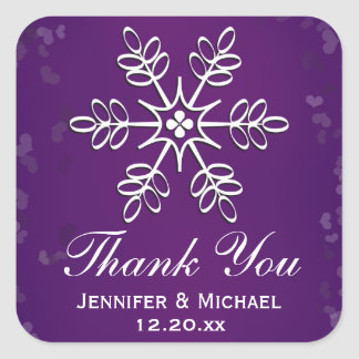 Purple Snowflake Thank You Label