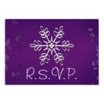Purple Snowflake Wedding RSVP Response Card 9 Cm X 13 Cm Invitation Card