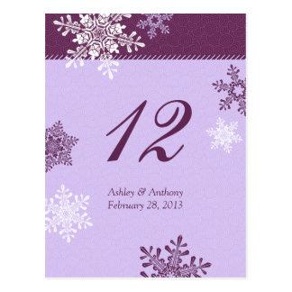 Purple Snowflake Winter Wedding Table Cards Postcard
