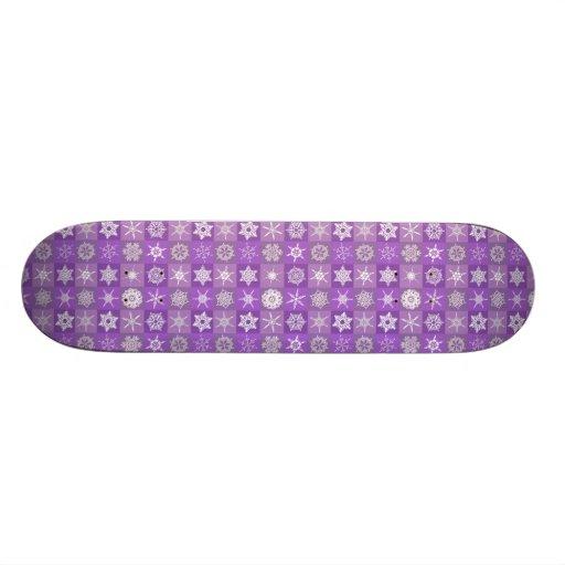 Purple Snowflakes Custom Skateboard