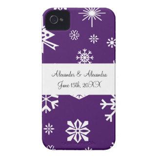 Purple snowflakes wedding favors iPhone 4 Case-Mate case