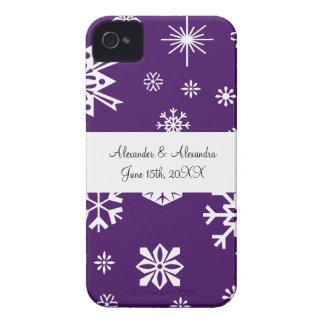 Purple snowflakes wedding favors iPhone 4 Case-Mate cases