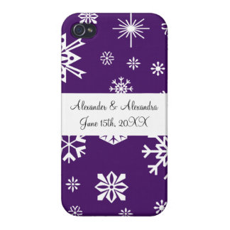 Purple snowflakes wedding favors covers for iPhone 4