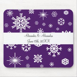 Purple snowflakes wedding favors mouse mat