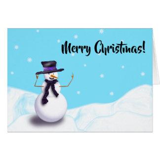 Purple Snowman Card