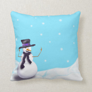 Purple Snowman Cushion