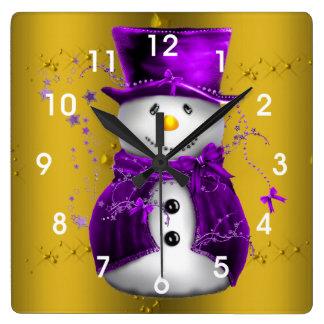 Purple Snowman on Gold Christmas Square Wall Clock