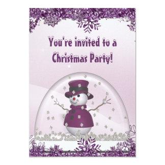 Purple Snowman & Snow Globe Christmas Party 13 Cm X 18 Cm Invitation Card