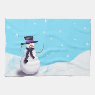 Purple Snowman Tea Towel
