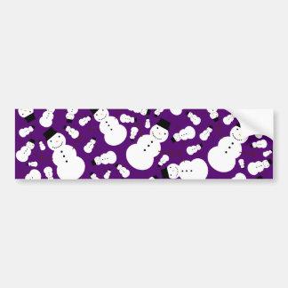Purple snowmen bumper sticker