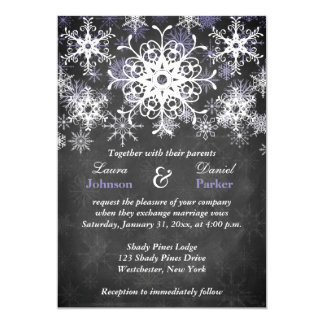 Purple Snowy Chalkboard Style Wedding Invitation