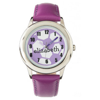 Purple Soccer Ball and Name Watch