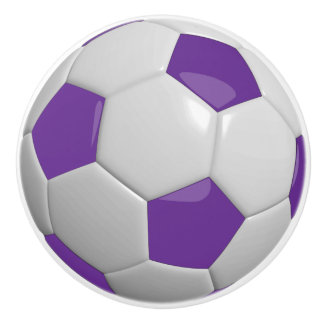 Purple Soccer Ball / Football Ceramic Knob