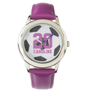 Purple Soccer Ball Girl's Watches