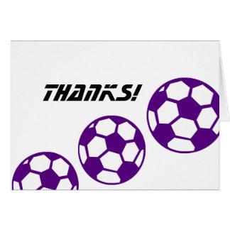 Purple Soccer Balls Thanks Card