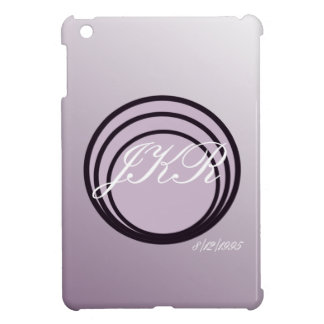 Purple soft tones monogram text (white) & date cover for the iPad mini
