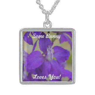 Purple Some Bunny Loves You Silver Square Necklace