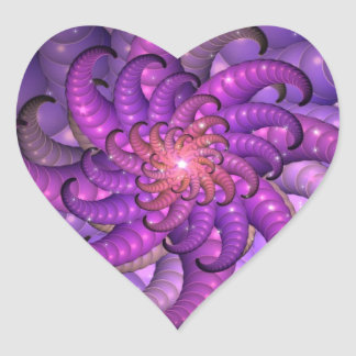 Purple Space Anemone Fractal Abstract Art Heart Sticker