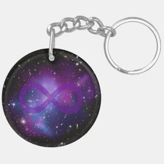Purple Space Image Double-Sided Round Acrylic Key Ring
