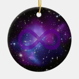 Purple Space Image Round Ceramic Decoration