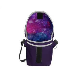 Purple space traveller spatial galaxy painting messenger bag
