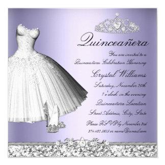 Purple Sparkle Glitter Dress & Heels Quinceanera 13 Cm X 13 Cm Square Invitation Card