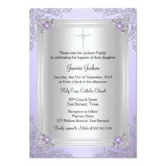 Purple Sparkle Jewel Baptism/Christening Invite