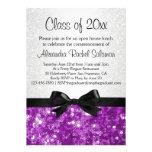 Purple Sparkle-look Bow Graduation Invitation