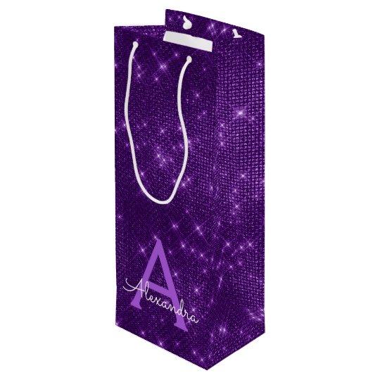 Purple Sparkle Monogram - Add Your Name Wine Gift Bag