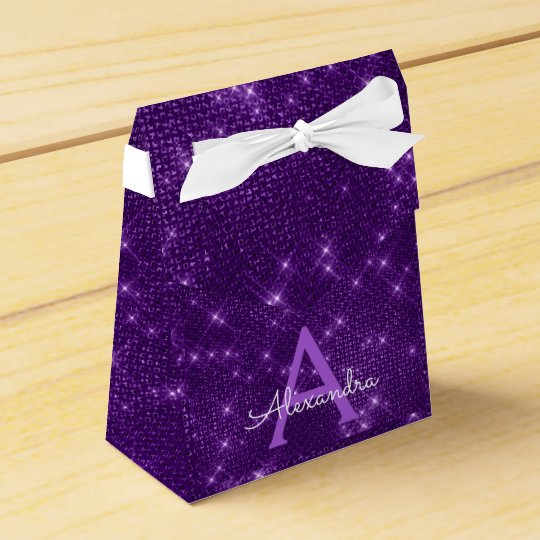 Purple Sparkle Monogram - Birthday Party Favour Favour Box