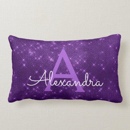 Purple Sparkle Shimmer Monogram Name & Initial Lumbar Cushion