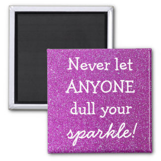 Purple Sparkle Square Magnet