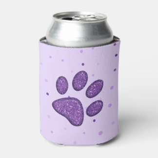 purple sparkling cat paw print - drink holder can cooler