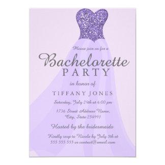 Purple Sparkling Glitter Dress Bachelorette Invite