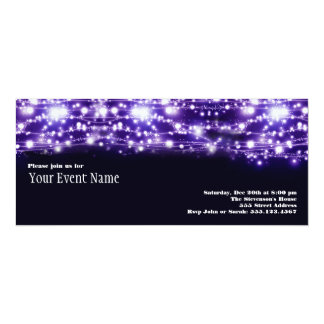 Purple Sparkling Stars Invitation