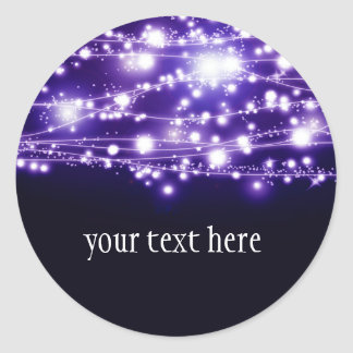 Purple Sparkling Stars Round Sticker